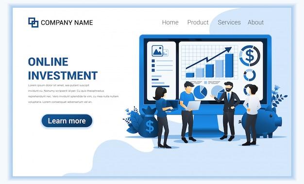 Investeringsconcept met mensen werken op gigantisch scherm, bedrijfsinvesteringen, financiële technologie.
