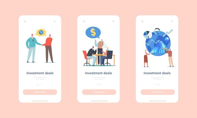 Investeringsdeals mobiele app-pagina onboard-schermsjabloon. ondernemerskarakters partnerschap en samenwerking voor geldprojecten, wereldwijd bedrijfsconcept. cartoon mensen vectorillustratie