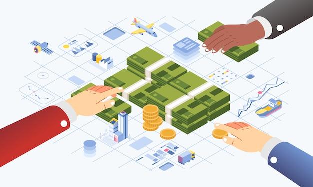 Investeringsfonds voor economische ontwikkeling geïllustreerd met hand met geld, gebouw, vliegtuig, grafiek in grafische info