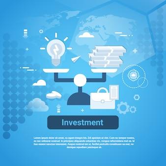Investeringsgeld bedrijfswebbanner met exemplaarruimte
