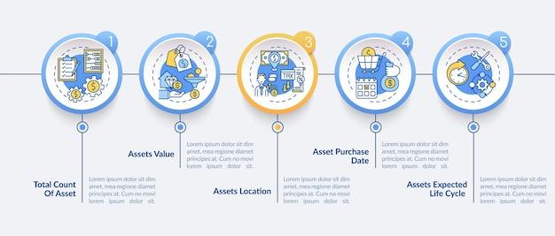 Investeringsinventaris infographic sjabloon. totaal aantal, activa waarde presentatie ontwerpelementen. datavisualisatie met stappen. proces tijdlijn grafiek. werkstroomlay-out met lineaire pictogrammen