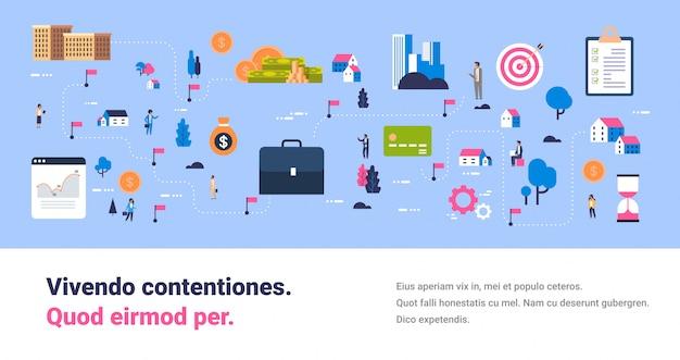 Investeringskaart investeren zakelijke kans people manager geldoverdracht concept succesvol contant geld investeren platte horizontale banner