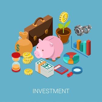 Investeringskapitalisatie geld besparingen financiën concept isometrische illustratie. spaarvarken, muntbloemplant, geldzak, zandklok, tandrad, grafisch grafiekrapport, aktetas.