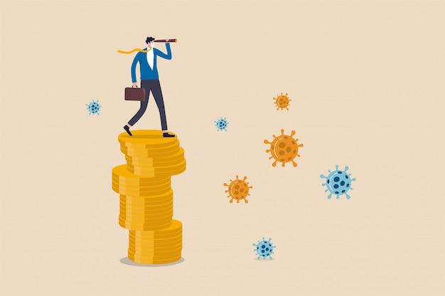 Investeringsmogelijkheid in aandelenmarkt, bedrijf om te overleven en te winnen in het concept van de crisis-uitbraakeconomie van het coronavirus