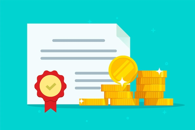Investeringsobligatie of voorraadverplichting document met zegel stempel illustratie