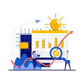 Investeringsoplossingen concept met karakter. investeerder die bedrijfsidee kiest om te investeren, rijkdom te vergroten.