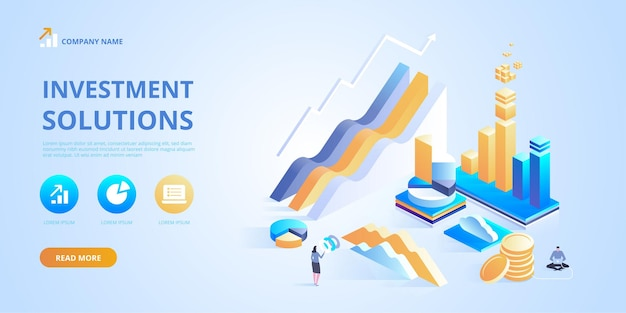 Investeringsoplossingen handelsoplossingen voor banner voor investeringsanalyse