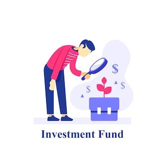 Investeringsportefeuille op lange termijn, persoon met vergrootglas, zakelijk onderzoek en analyse, financiële prestaties, aandelenmarktstrategie, vlakke afbeelding