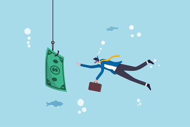 Investeringsrisico of geldval, bedrijfsfraude en bedrog of financiële valkuil en foutconcept, zakenman die in bedrijfsoceaan duikt, neemt een aas aan de haak die met gelddollarbiljet vist.