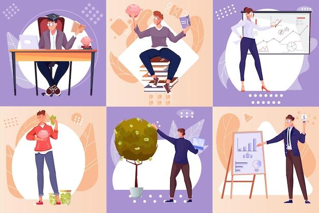 Investeringsset van vierkante composities met platte en menselijke karakters die geld besparen door met gegevensillustratie te werken