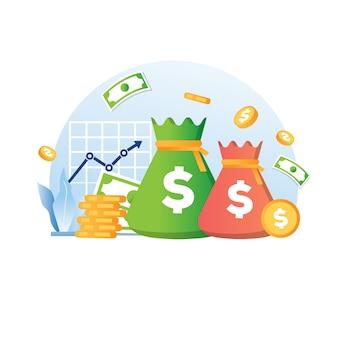 Investeringsstatistiek met geldgroei