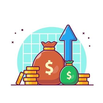 Investeringsstatistiek met geldillustratie. groei investeringsfinanciering, geïsoleerd business icon concept white.