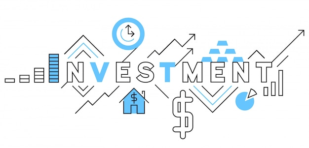 Investment flat line design in blue