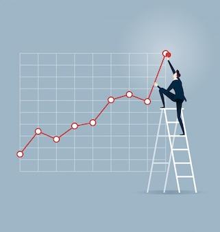 Investor. zakenman die op een ladder beklimt