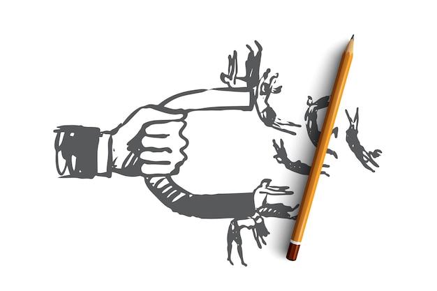 Invloed, magneet, bedrijf, publiek, concept delen. hand getrokken magneet trekt mensen concept schets.