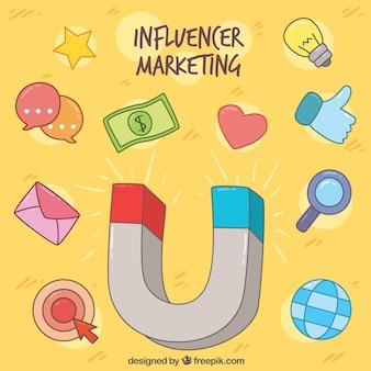 Invloed marketing concept met magneet en symbolen