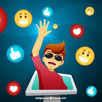Invloed marketing ontwerp met man uit de tablet
