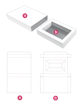 Invoegen rechthoekige doos met gestanste omslagsjabloon