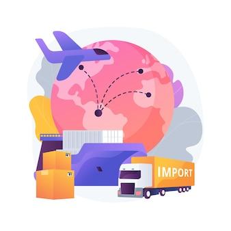 Invoer van goederen en diensten abstracte concept illustratie