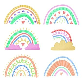 Inzameling van abstracte kleurrijke regenbogen met wolken
