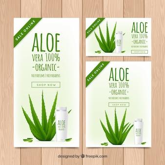 Inzameling van aloë vera producten producten banners