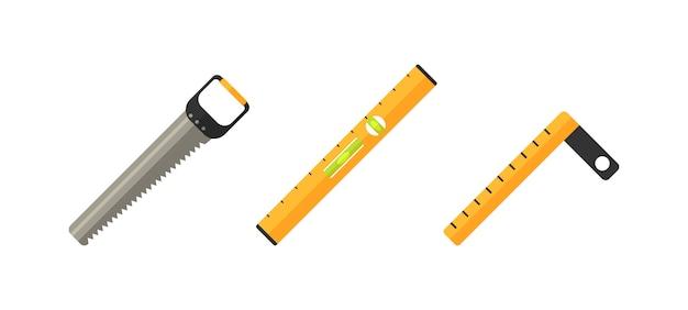 Inzameling van apparatuur voor reparatie. verzameling van instrumenten. reparatie en constructie tools icon set.