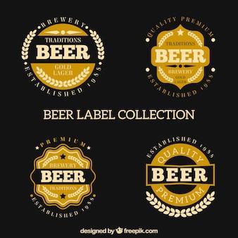 Inzameling van bieretiket in retro stijl
