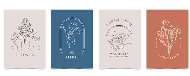 Inzameling van bloemachtergrond die met hand, bloem, lavendel, magnolia, vorm wordt geplaatst.