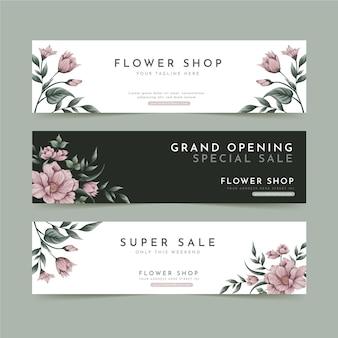 Inzameling van bloemenbanners voor bloemenwinkel