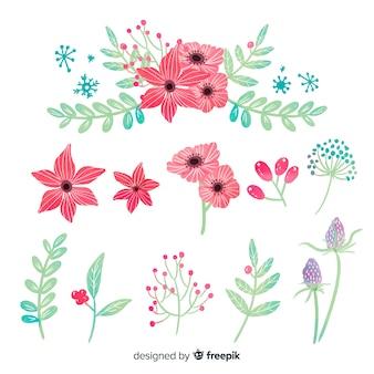 Inzameling van de bloemen van waterverfkerstmis