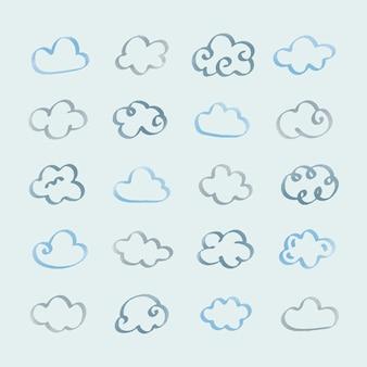 Inzameling van de illustratie van wolkenpictogrammen