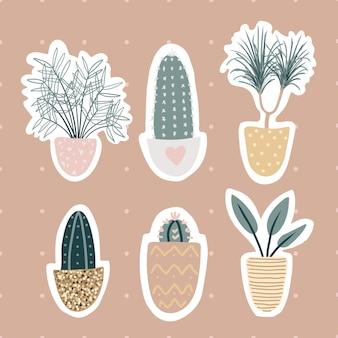 Inzameling van decoratieve kamerplantenstickers die op witte achtergrond wordt geïsoleerd. bundel van trendy planten die in potten groeien. set van prachtige natuurlijke huisdecoraties. plat kleurrijke illustratie.
