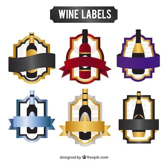 Inzameling van elegante wijnstickers