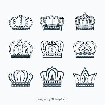 Inzameling van fantastische kroonjes in plat ontwerp