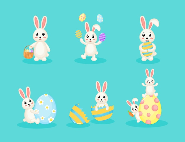 Inzameling van gelukkig paashaas en ei. schattige konijnen geïsoleerd op blauwe achtergrond.