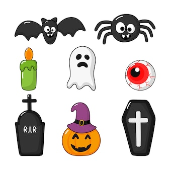 Inzameling van gelukkige halloween-pictogrammen geplaatst die op wit worden geïsoleerd.