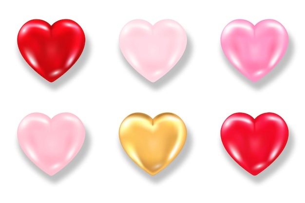 Inzameling van glanzend 3d hart met schaduw die op witte achtergrond wordt geïsoleerd. valentijnsdag glanzende ballon rood, roze en gouden harten. realistische illustratie van liefdesymbool