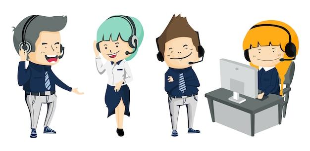 Inzameling van glimlachende mannelijke en vrouwelijke exploitant met hoofdtelefoon die op call centre werkt