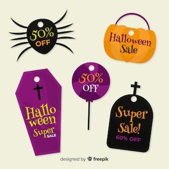Inzameling van halloween-verkoop bagde op vlak ontwerp