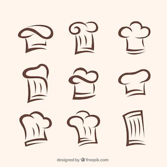 Inzameling van handgetekende chef-kok caps