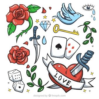 Inzameling van handgetekende decoratieve tatoeages