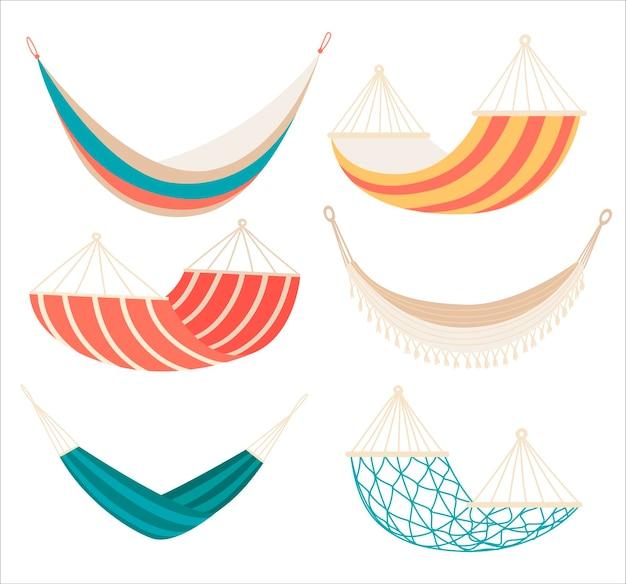 Inzameling van hangmatten van verschillende types die op wit worden geïsoleerd.