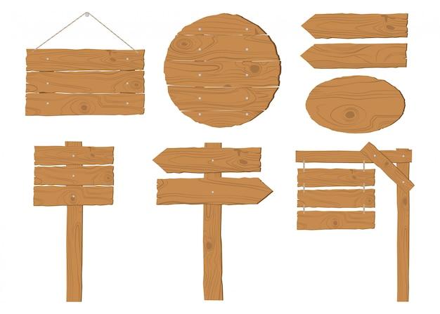 Inzameling van houten uithangbordvector die op wit wordt geplaatst