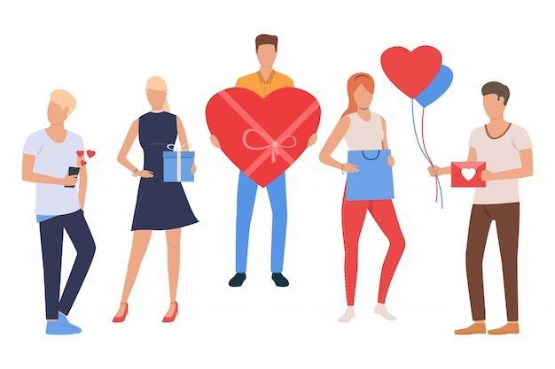Inzameling van jonge mensen die valentijnskaartendag vieren