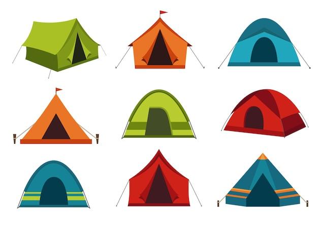 Inzameling van kampeertenten die op witte achtergrond wordt geïsoleerd.