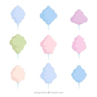 Inzameling van katoen snoep van verschillende kleuren
