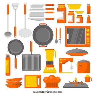 Inzameling van keukengerei in platte vormgeving