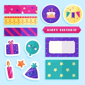 Inzameling van kleurrijk verjaardagsplakboek
