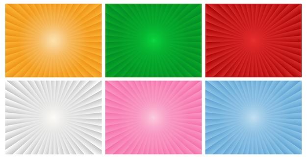 Inzameling van kleurrijke abstracte de stralenachtergrond van de zonnestralengradiënt