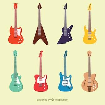 Inzameling van kleurrijke elektrische gitaren